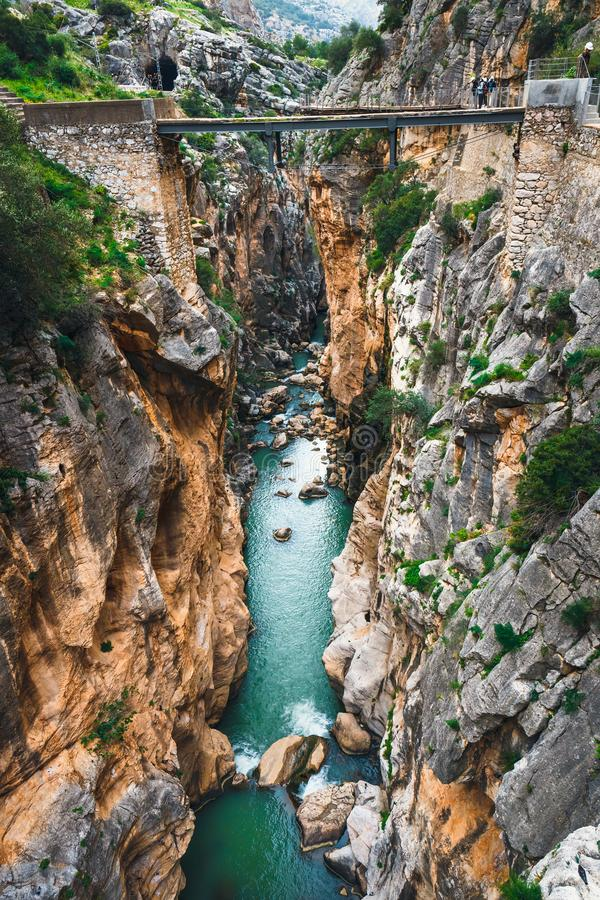 Caminito Del Rey - bergweg langs steile hellingen, Spanje stock foto
