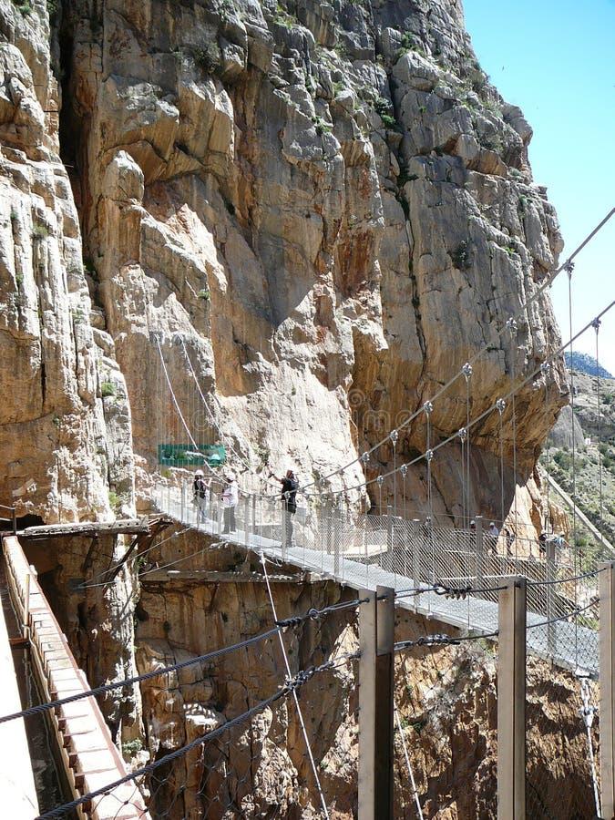 Caminito del Rey - Gang door kloof stock afbeelding