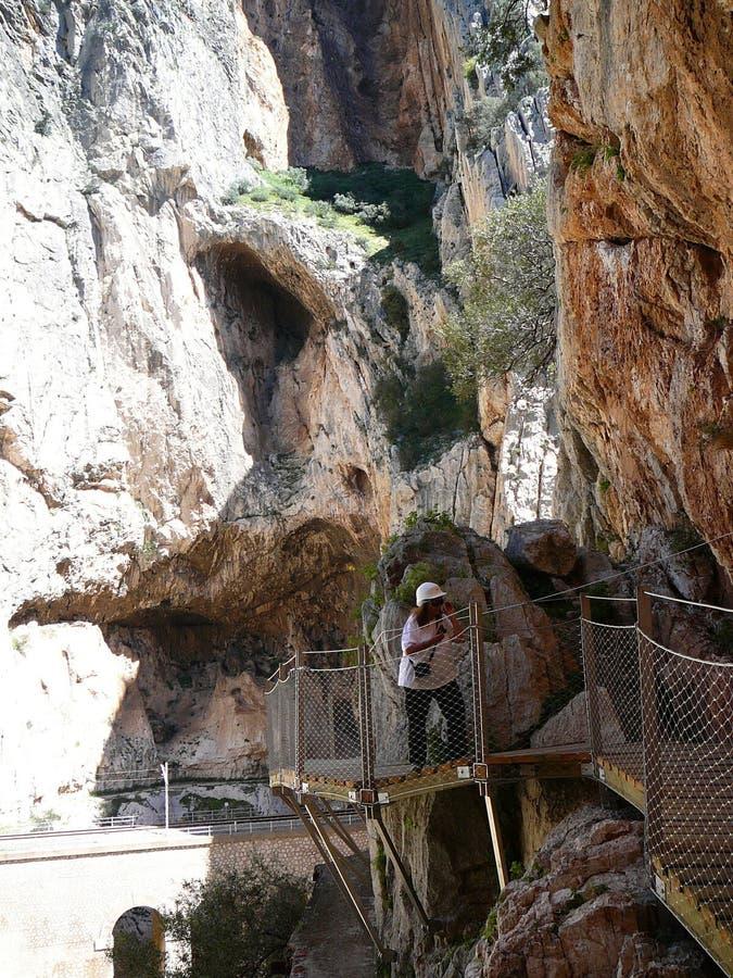 Caminito del Rey - Gang door kloof royalty-vrije stock foto