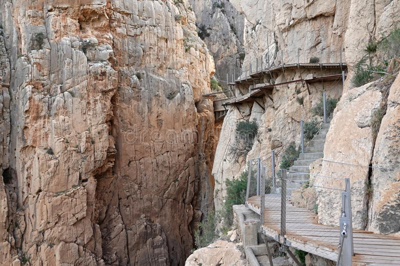 Gaitanes boardwalk of Caminito del Rey in Andalusia, Spain. The Caminito del Rey i or King`s little footpath s a cliff-side path hanging 100m above the waters of stock images
