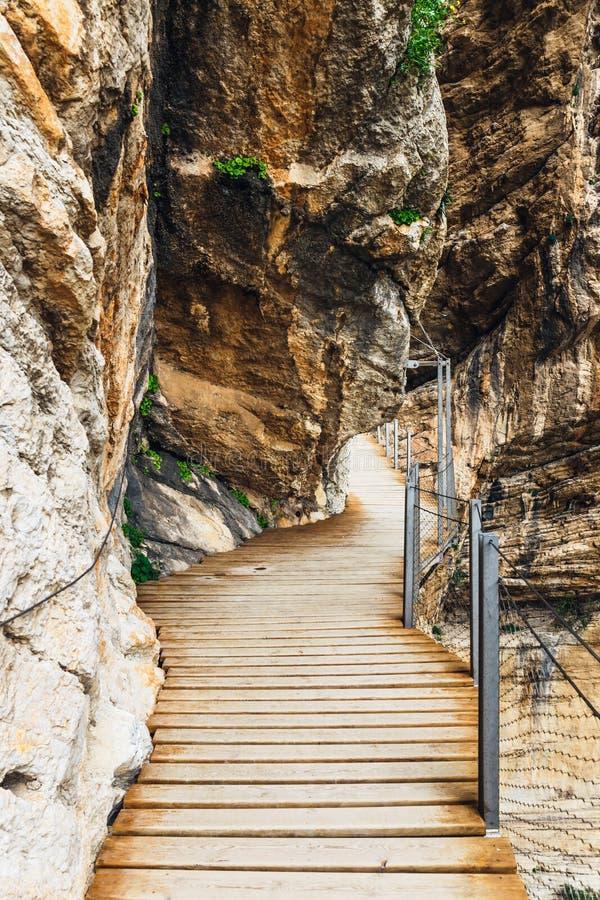 Caminito Del Rey, klippen in Andalusia, Spanje stock foto's