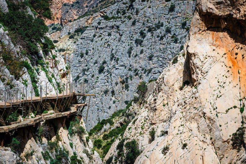 Caminito Del Rey, klippen in Andalusia, Spanje royalty-vrije stock afbeeldingen
