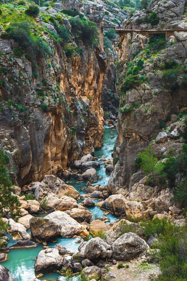 Caminito Del Rey, klippen in Andalusia, Spanje stock foto