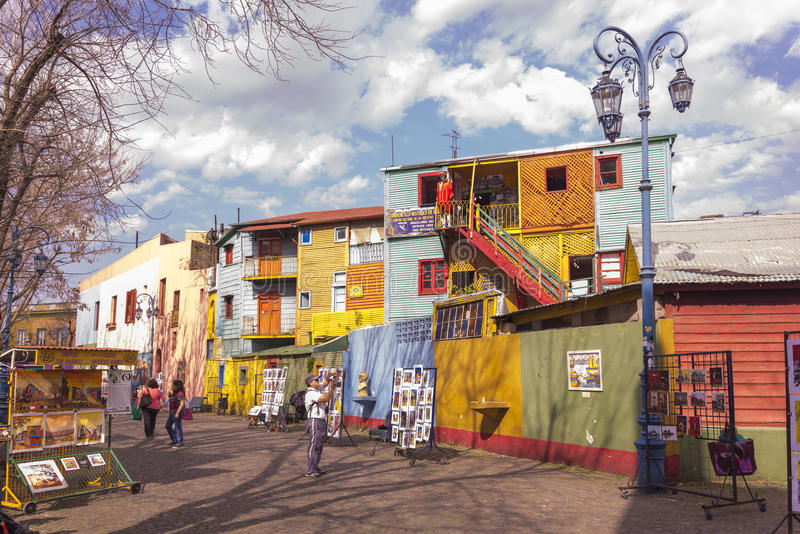Caminito Street. Conventillos (tenement houses) and paintings for sale at Caminito street, barrio (neighbourhood) La Boca, Buenos Aires city, Argentina stock photos