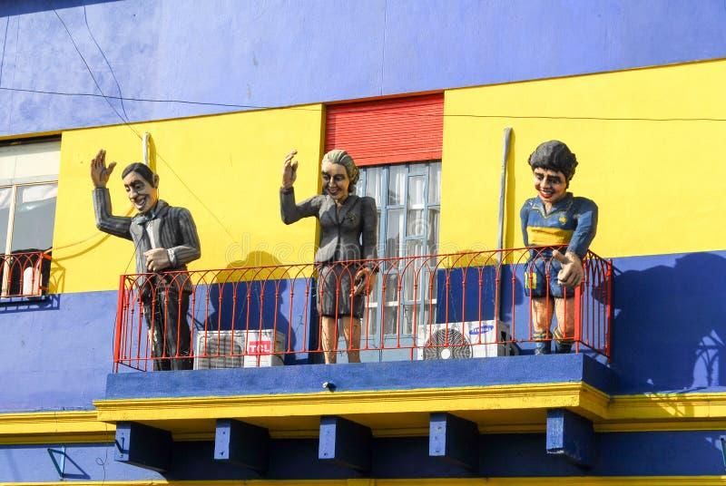 Caminito Street, La Boca - Buenos Aires, Argentina. Colorful Caminito street and statuettes in the La Boca neighborhood of Buenos Aires, Argentina stock image