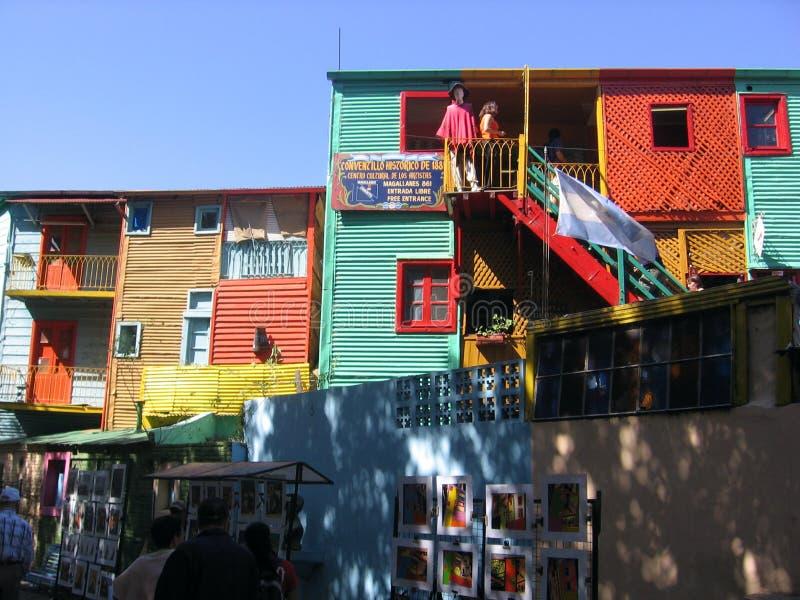 Caminito Street in La Boca Buenos Aires Argentina. Historic tenements in the neighborhood of La Boca in Buenos Aires Argentina.nRecreation of immigrants who stock photo