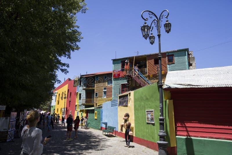 Caminito street in La Boca, Buenos Aires, Argentina. Unindentified people at Caminito street in La Boca, Buenos Aires, Argentina. This 100m long traditional royalty free stock image