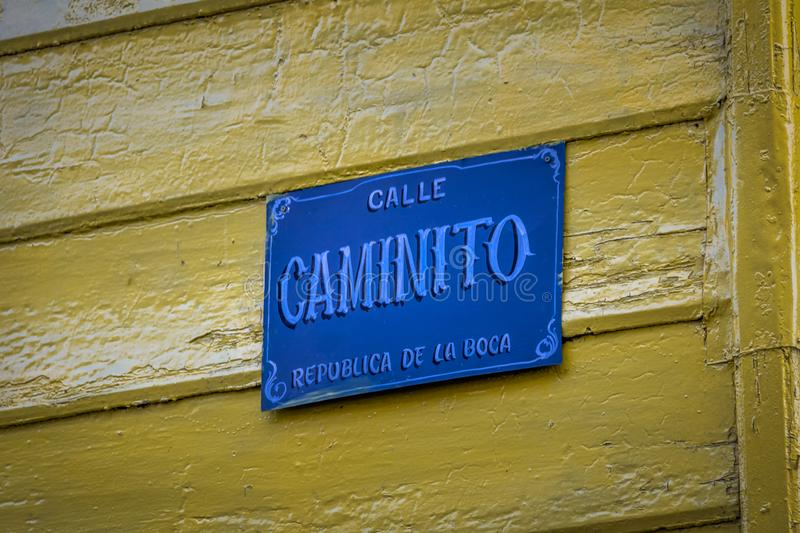 Caminito Street Sign in La Boca neighborhood - Buenos Aires, Argentina. Caminito Street Sign in La Boca neighborhood in Buenos Aires, Argentina stock images