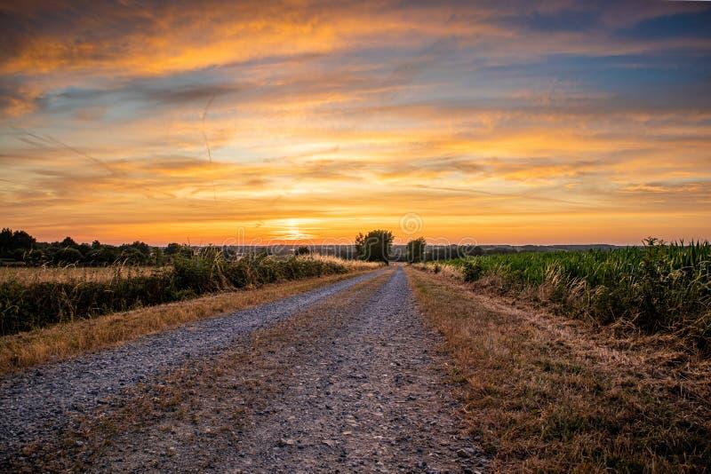 Camino al amanecer dorado foto de archivo libre de regalías