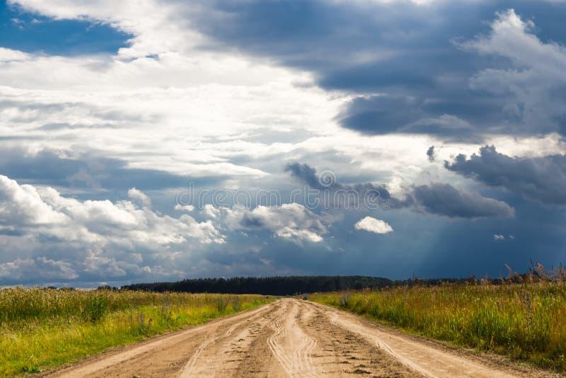 Camino al bosque contra un cielo nublado fotografía de archivo