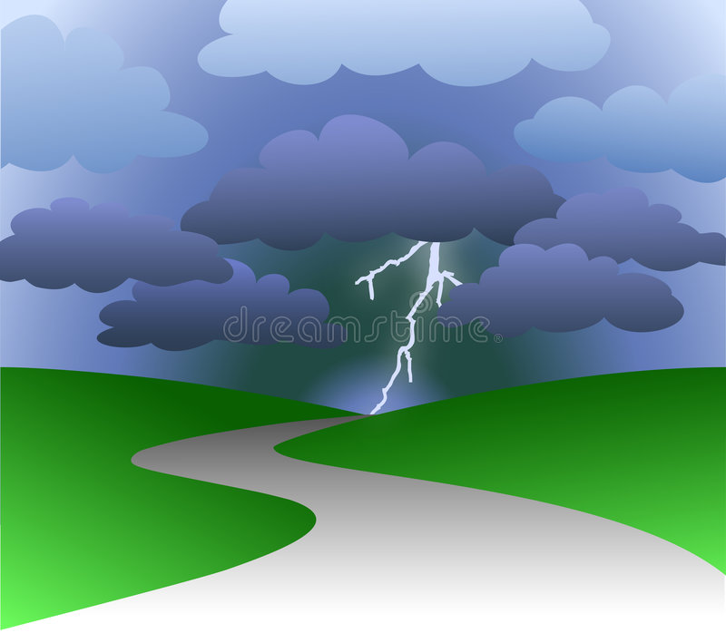 Camino al futuro tempestuoso ilustración del vector