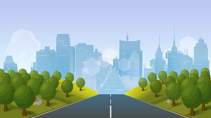 Camino al paisaje de la ciudad, ejemplo del vector ilustración del vector