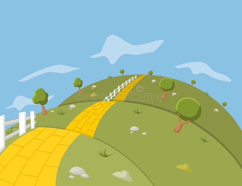 Camino amarillo del ladrillo ilustración del vector