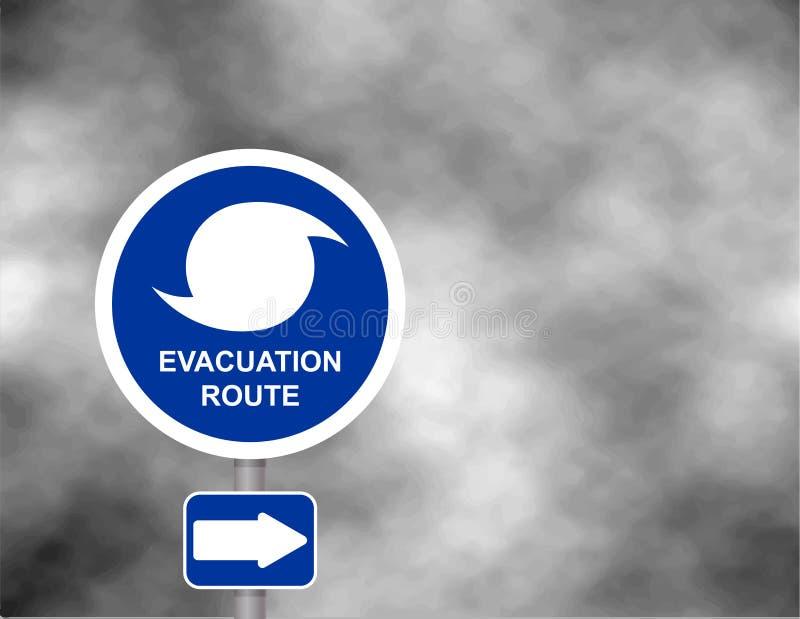 Camino amonestador de la ruta de la evacuación Estación del huracán con la muestra del símbolo contra un fondo gris tempestuoso d ilustración del vector