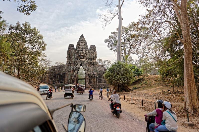 Camino a Angkor Thom, Camboya foto de archivo libre de regalías