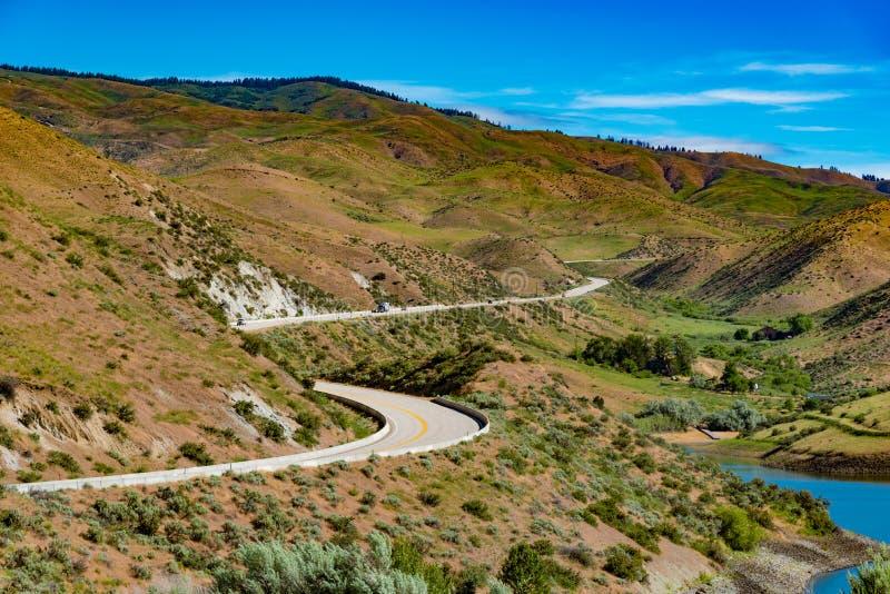 Camino apartado escénico de los pinos ponderosa cerca de Boise, Idaho imagen de archivo