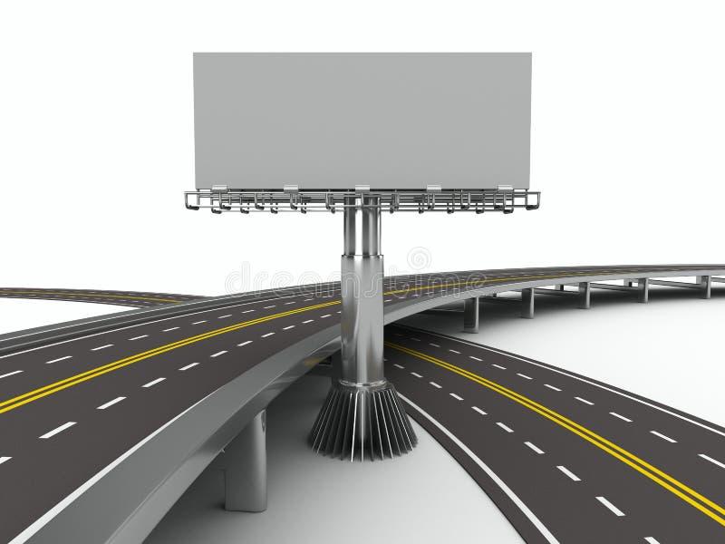 Camino asfaltado con la cartelera. 3D aislado ilustración del vector