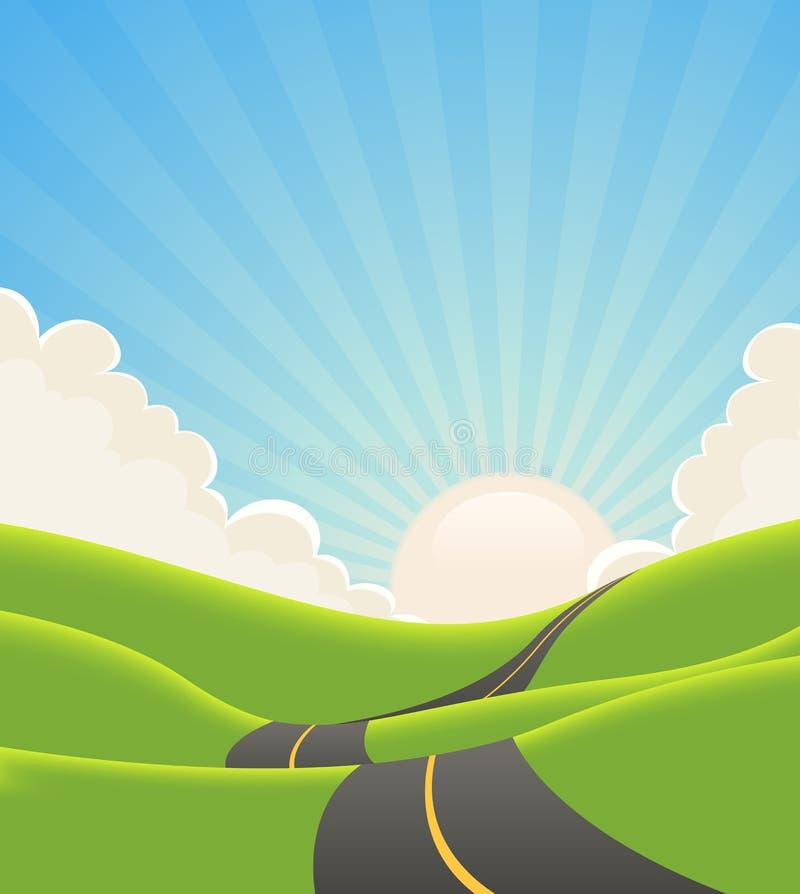 Camino azul del paisaje del verano stock de ilustración