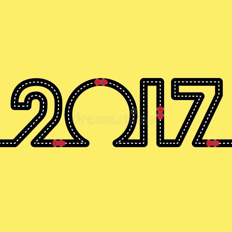 Camino bajo la forma de cuadros 2017 con los coches rojos ilustración del vector