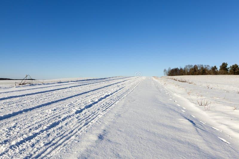 Camino bajo la nieve imagenes de archivo