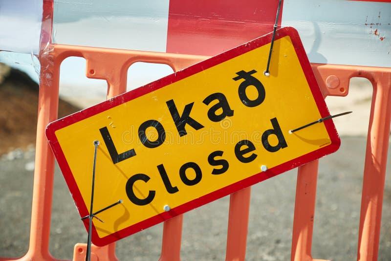 Camino cerrado en Islandia fotografía de archivo