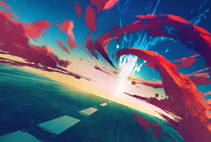 Camino con el relámpago y la tormenta roja a continuación libre illustration