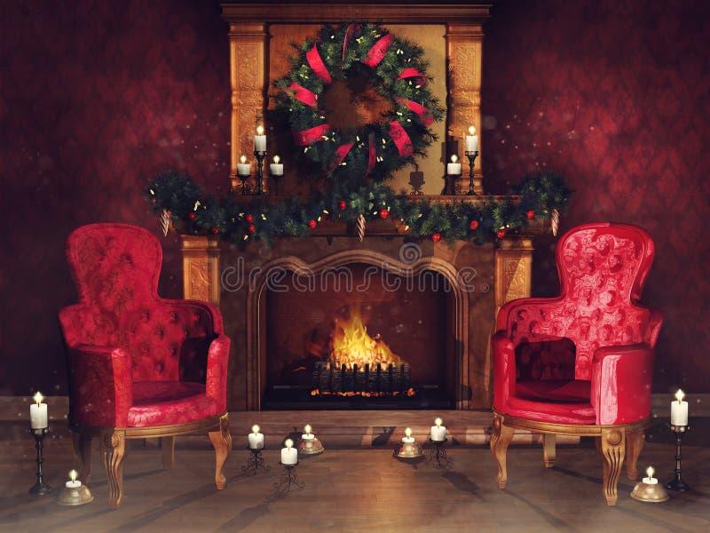 Camino con gli ornamenti e le poltrone royalty illustrazione gratis