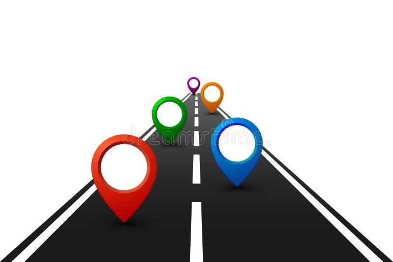 """Camino con la navegación GPS Camino del coche, calle, †del infographics del mapa itinerario de la carretera """"para la acción ilustración del vector"""