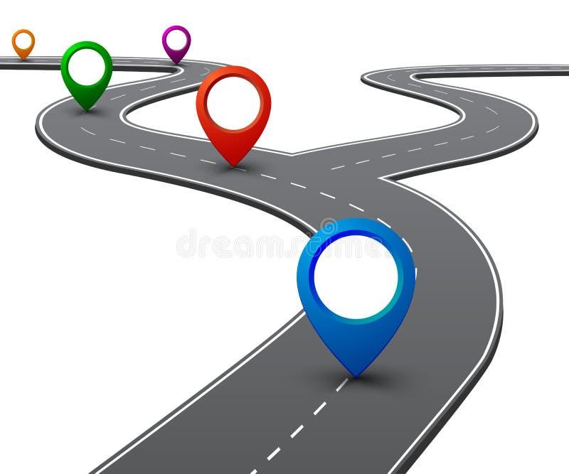 """Camino con la navegación GPS Camino del coche, calle, †del infographics del mapa itinerario de la carretera """"para la acción stock de ilustración"""