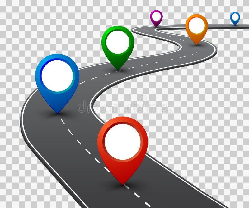 """Camino con la navegación GPS Camino del coche, calle, vector del †del infographics del mapa itinerario de la carretera """" stock de ilustración"""