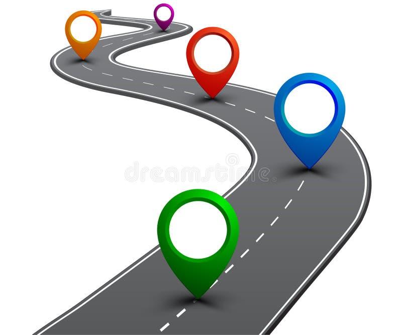 """Camino con la navegación GPS Camino del coche, calle, vector del †del infographics del mapa itinerario de la carretera """" ilustración del vector"""