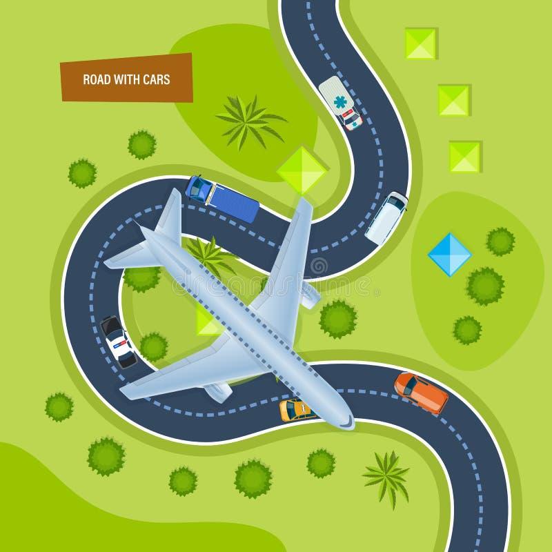 Camino con los coches Coches móviles en el camino Aeroplano en ciudad libre illustration