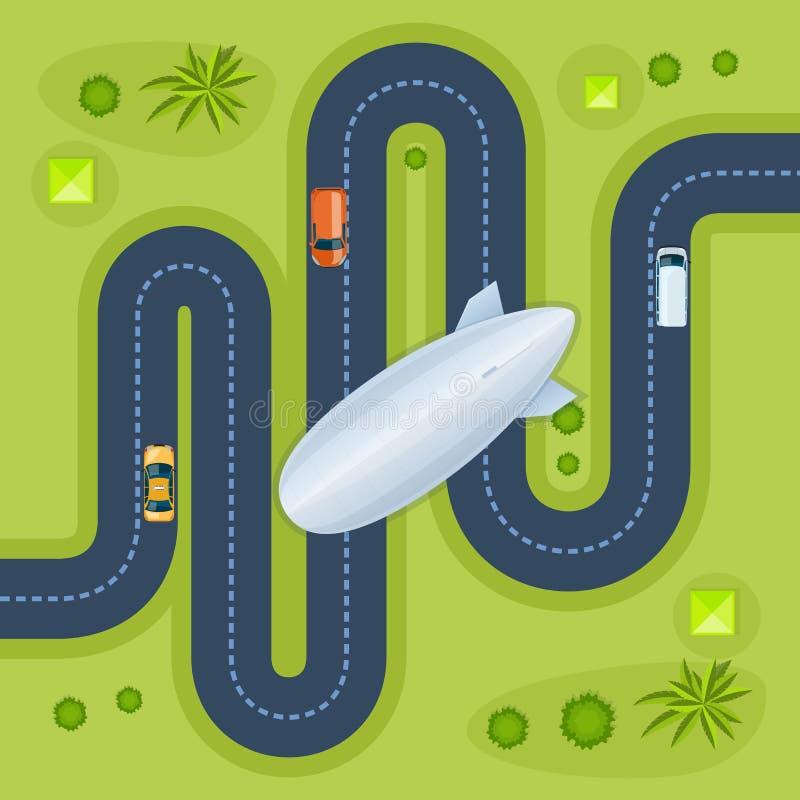 Camino con los coches Coches móviles en el camino Dirigible en ciudad stock de ilustración