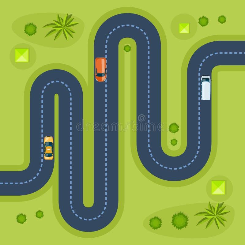 Camino con los coches Coches móviles en el camino, visión superior libre illustration