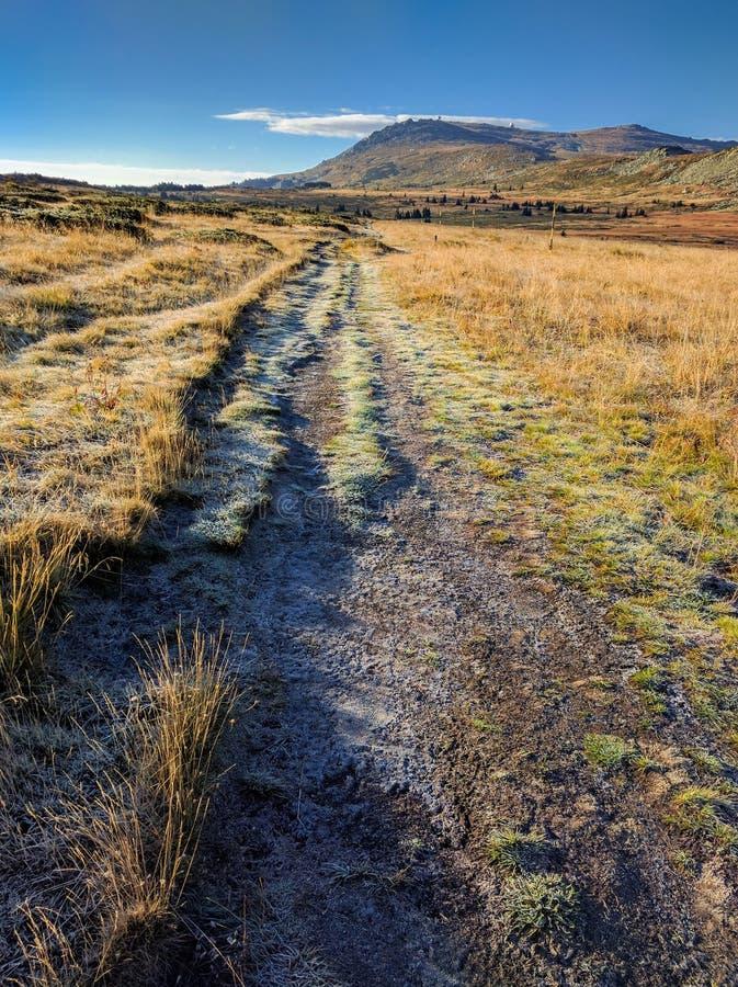 Camino congelado de la montaña fotografía de archivo