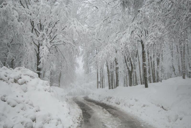 Camino congelado del invierno peligroso en la montaña, Toscana, Italia fotos de archivo