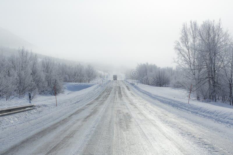 Camino congelado remoto en niebla en invierno fotografía de archivo libre de regalías