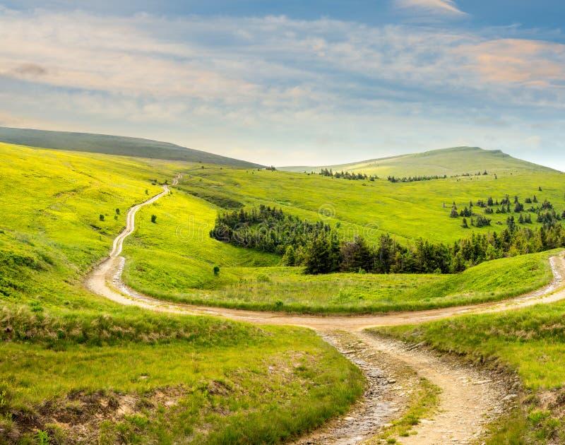 Camino cruzado en prado de la ladera en montaña en la salida del sol fotografía de archivo libre de regalías