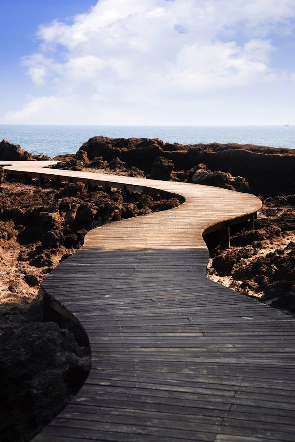 Camino curvado al mar fotografía de archivo