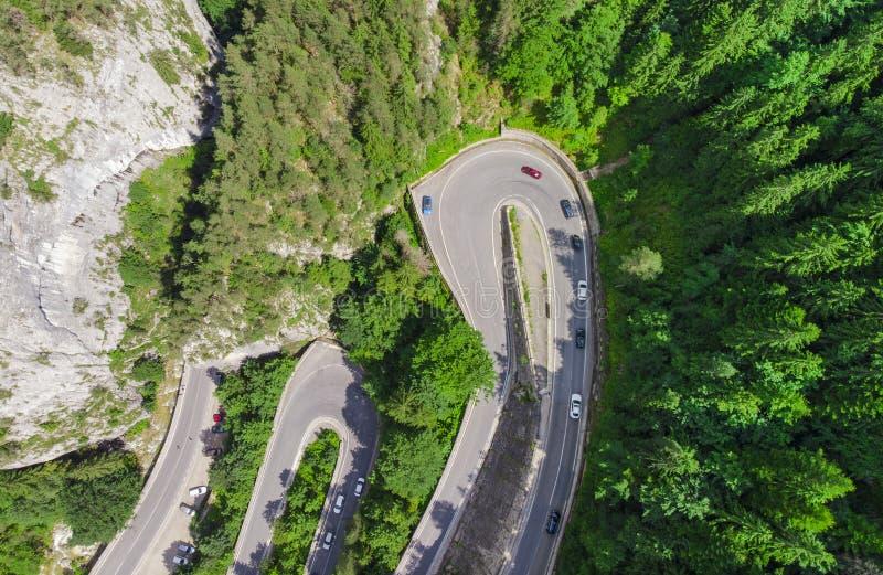 Camino curvado con los coches y paisaje hermoso del bosque imagenes de archivo