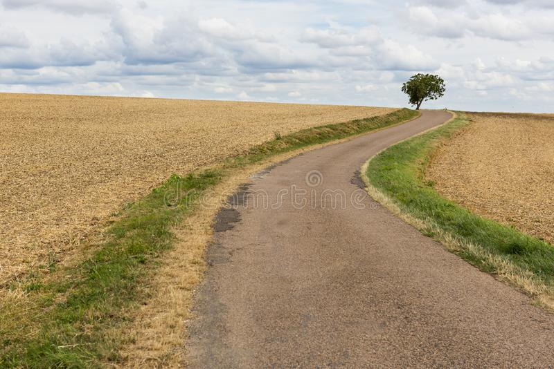 Camino curvado en el campo Francia imagenes de archivo