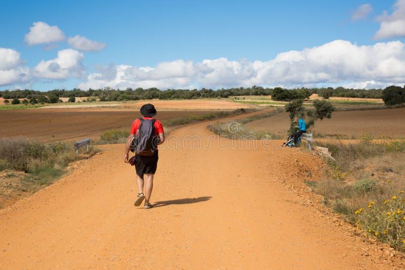 CAMINO DE圣地亚哥卡斯蒂利亚,西班牙-西班牙meseta路线 免版税库存照片