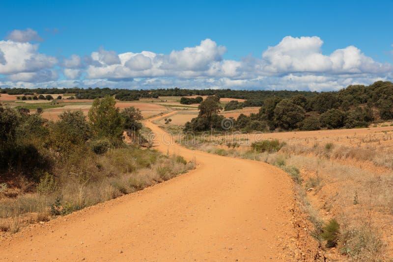 CAMINO DE圣地亚哥卡斯蒂利亚,西班牙-西班牙meseta路线 库存照片