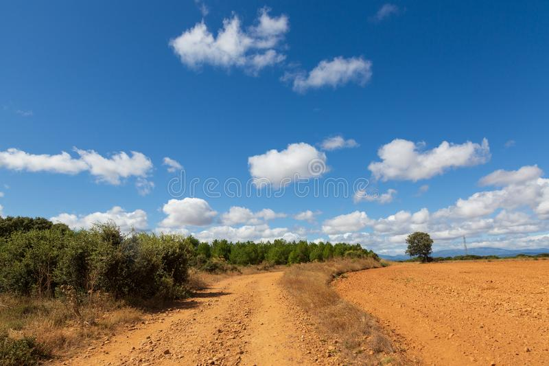 CAMINO DE圣地亚哥卡斯蒂利亚,西班牙-西班牙meseta路线 图库摄影