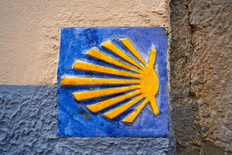 Camino de圣地亚哥圣詹姆斯标志方式  库存图片