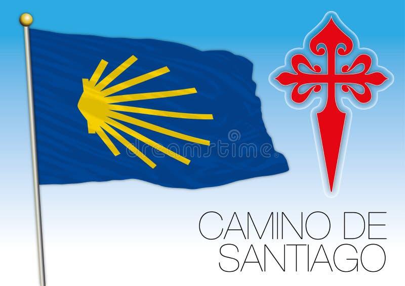 Camino de Σαντιάγο, σημαία και σύμβολα απεικόνιση αποθεμάτων