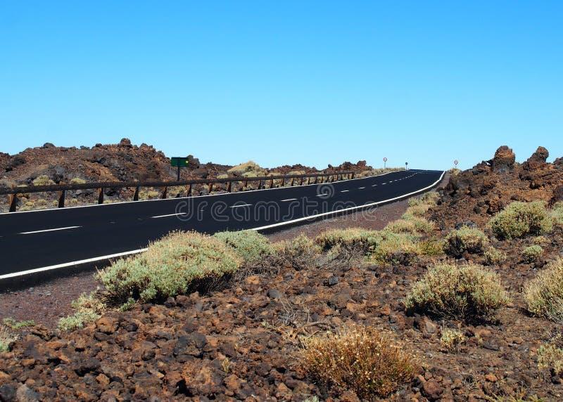 Camino de dos calles vacío del blacktop en el desierto fotografía de archivo libre de regalías