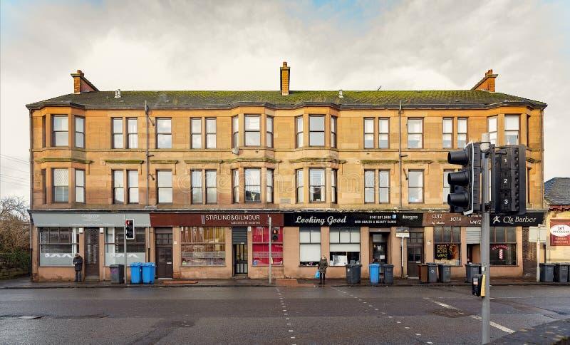 Camino de Kilbowie de la vivienda de la piedra arenisca de Clydebank fotografía de archivo libre de regalías