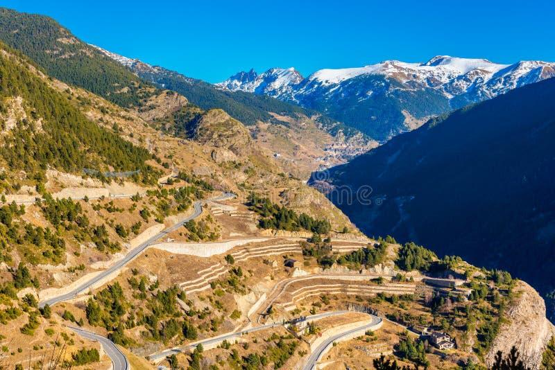 Camino de la horquilla en Andorra foto de archivo