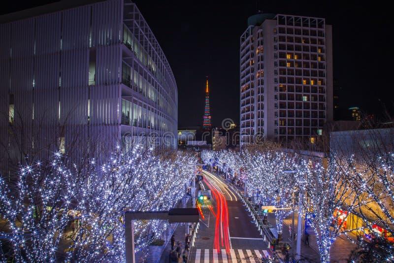 Camino de la iluminación en Tokio céntrica la iluminación se enciende para arriba mostrará antes de tiempo de la Navidad foto de archivo libre de regalías